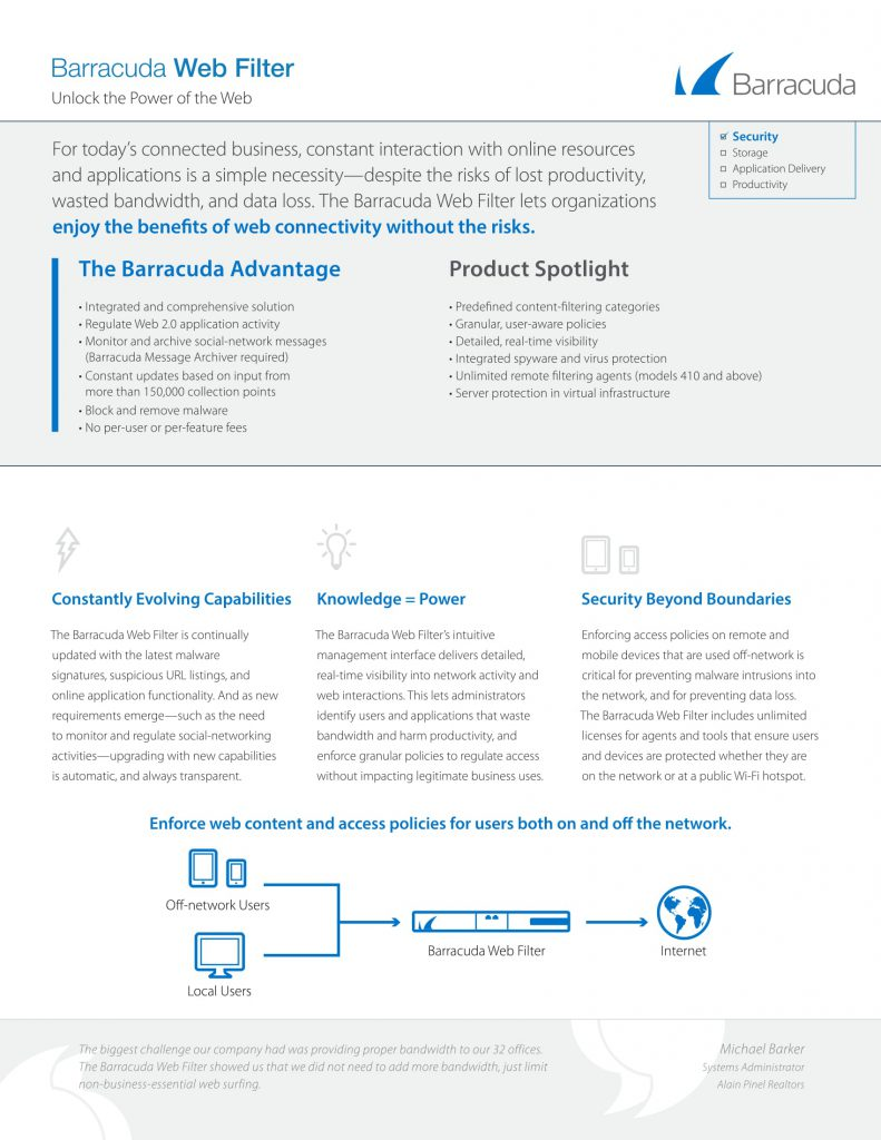 Web filter, Barracuda software