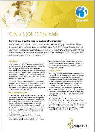 Opera 3 SQL SE financials