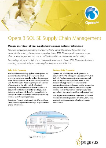 Opera 3 SQL SE supply chain