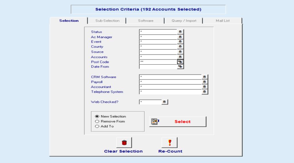 Selection Screen Dealer CRM