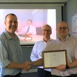 Hardware support, Guy Brook 25 years service