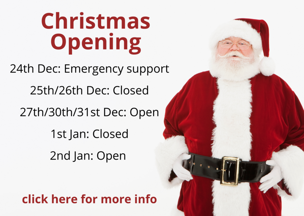 DCS Christmas opening times, DCS Xmas opening times