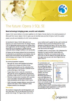 The future Opera 3 SQL SE