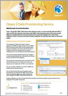 Opera 3 Data Provisioning Service